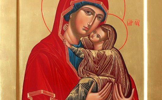 Икона святой Анны с младенцем Марией на руках