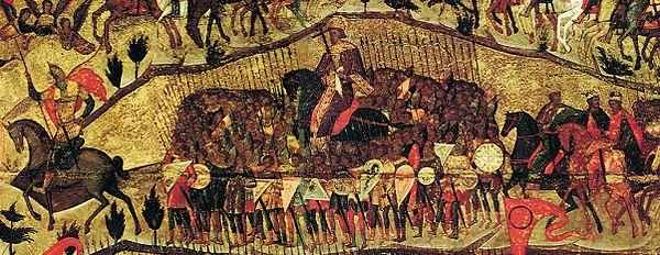 Центральный ряд воинов (фрагмент иконы)