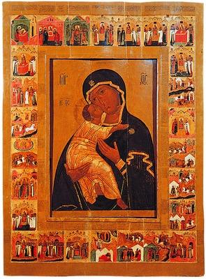 Икона Владимирской Божьей Матери с клеймами