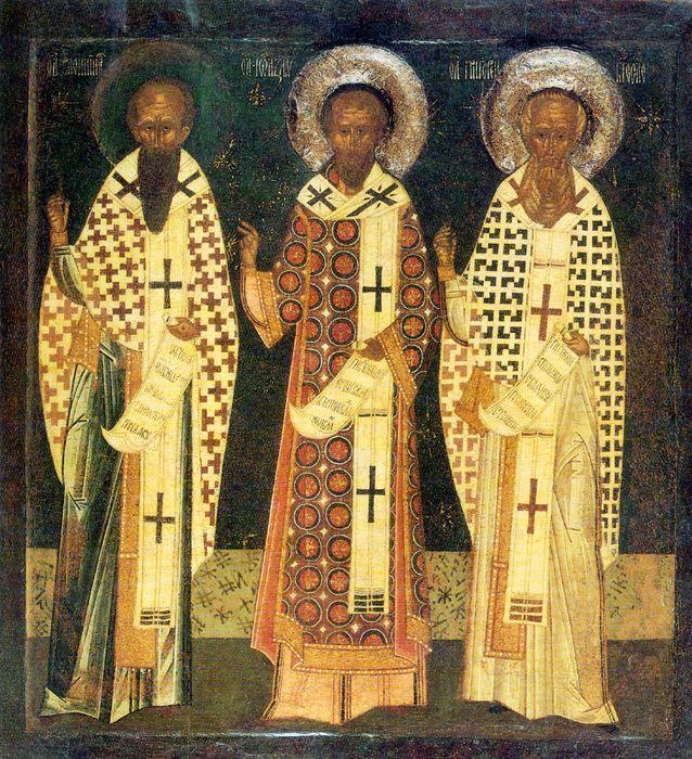 Икона «Вселенские учители Василий Великий, Григорий Богослов и Иоанн Златоуст» (середина XVI в.)