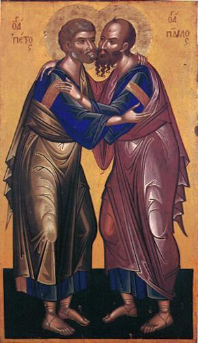 Икона Петра и Павла в объятиях