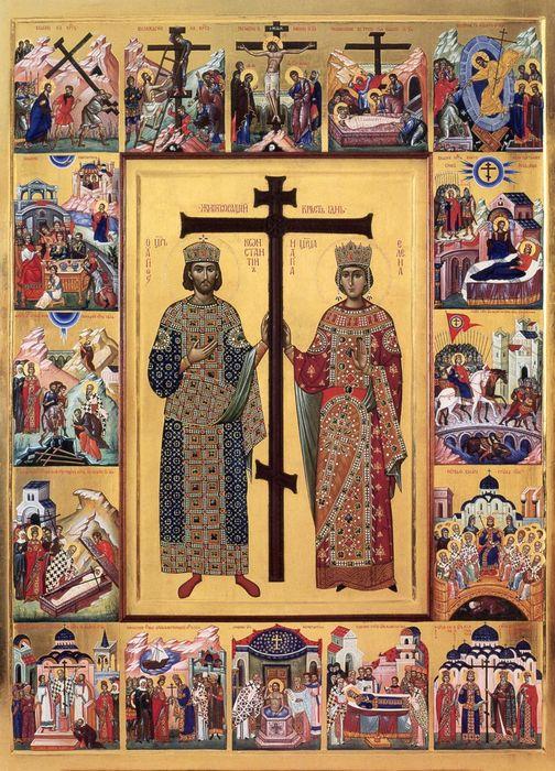 Икона равноапостольные царь Константин и царица Елена