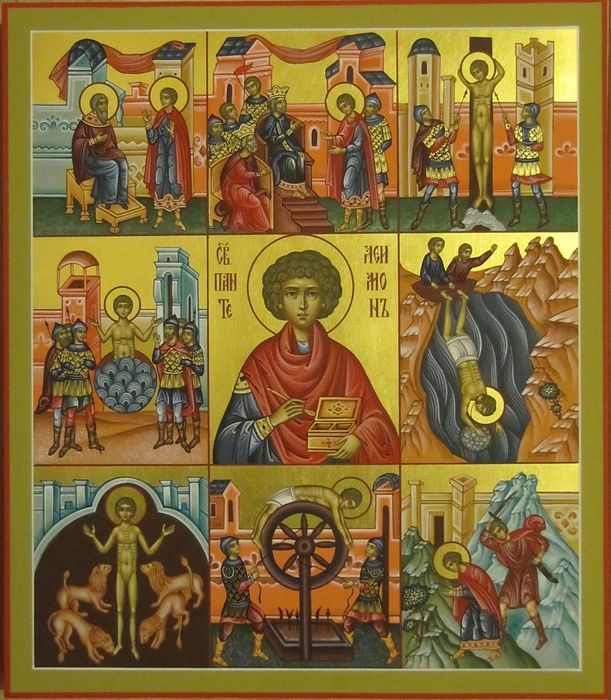 Икона с клеймами Пантелеймона Целителя