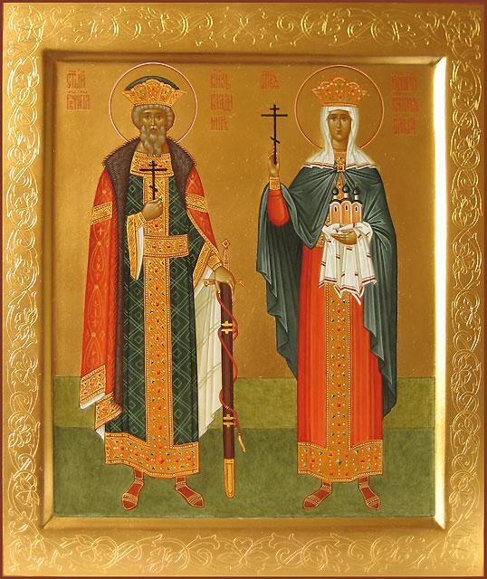 Икона Святых равноапостольных Великой княгини Ольги и Великого князя Владимира