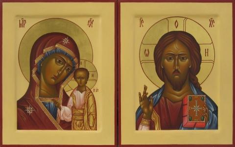 Складень из двух икон Спаса Вседержителя и Казанской иконы Божией Матери