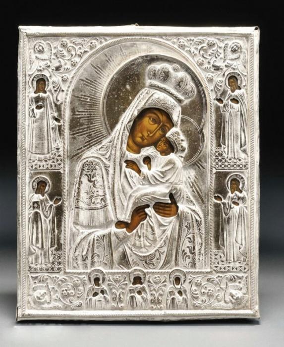 Икона Почаевская в окладе из серебра