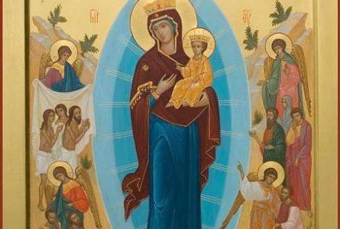 Икона Всех скорбящих Радость с Христом и ангелами