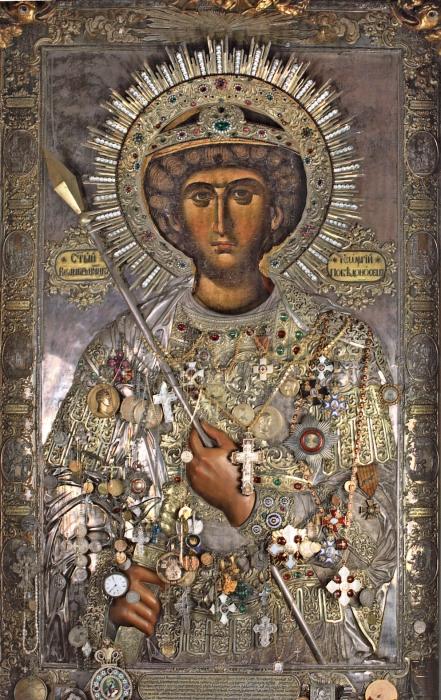 Икона с инкрустациями Георгий Победоносец