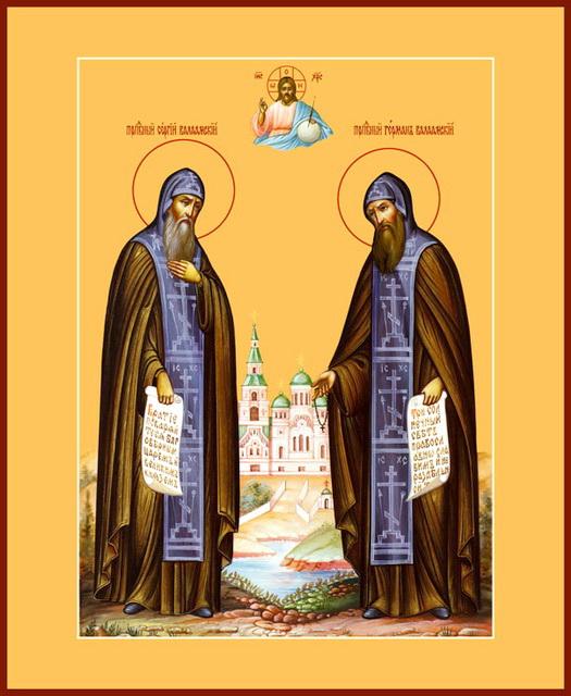 Икона преподобных Сергия и Германа Валаамских