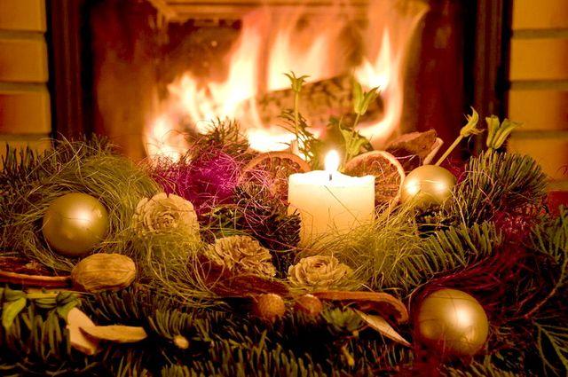 Очаг на Рождество
