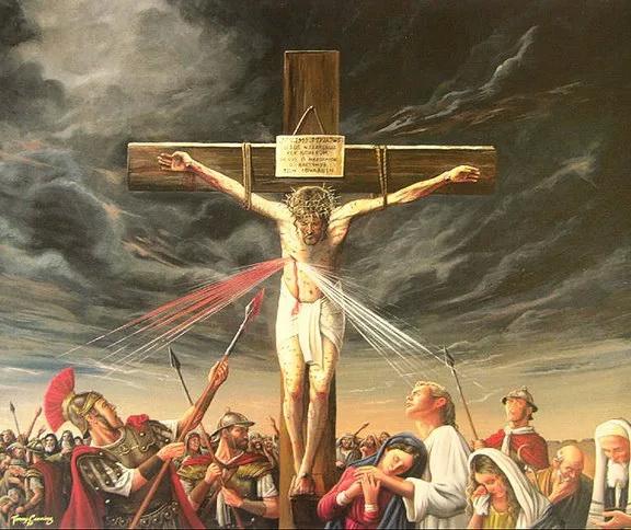 Сотник Лонгин пронзивший копьём бок распятого Иисуса Христа