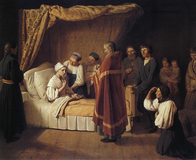Соборование больной дома