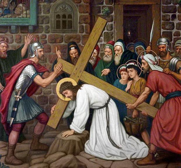 Симон Киринеянин помогает нести крест