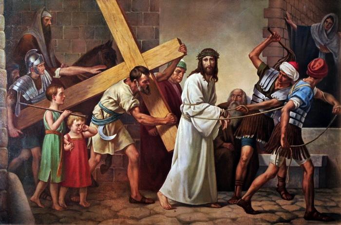 Симон Киринеянин помогает нести крест Иисусу