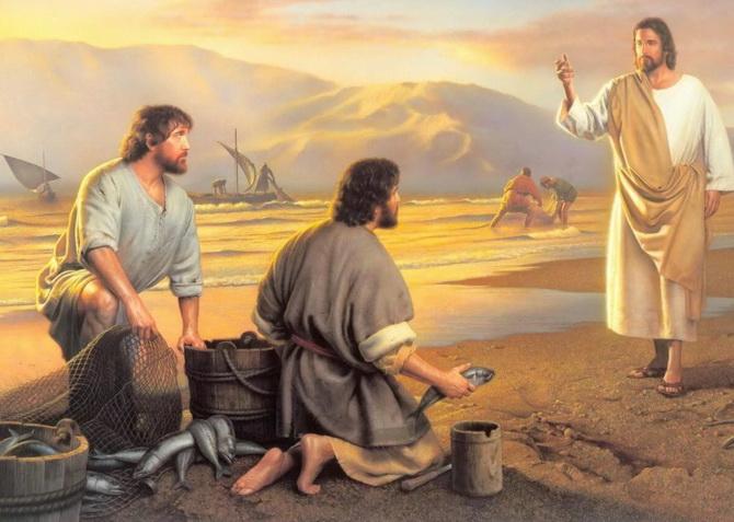 Иисус Христос и апостолы Андрей и Петр
