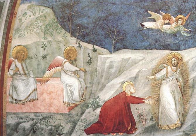 Фреска Джотто в церкви Сан-Франческо в Ассизи