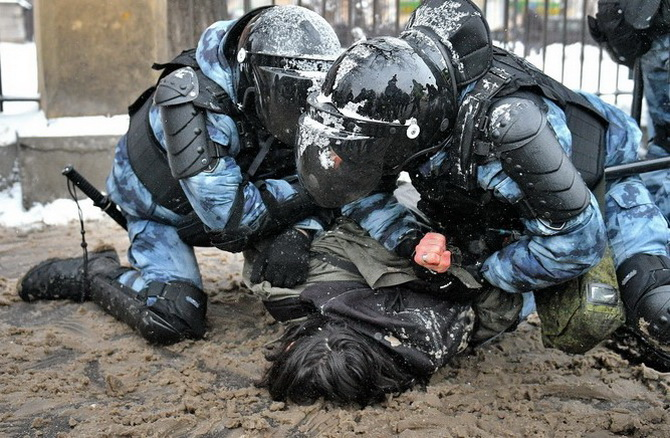 Задержание участников акции в Москве