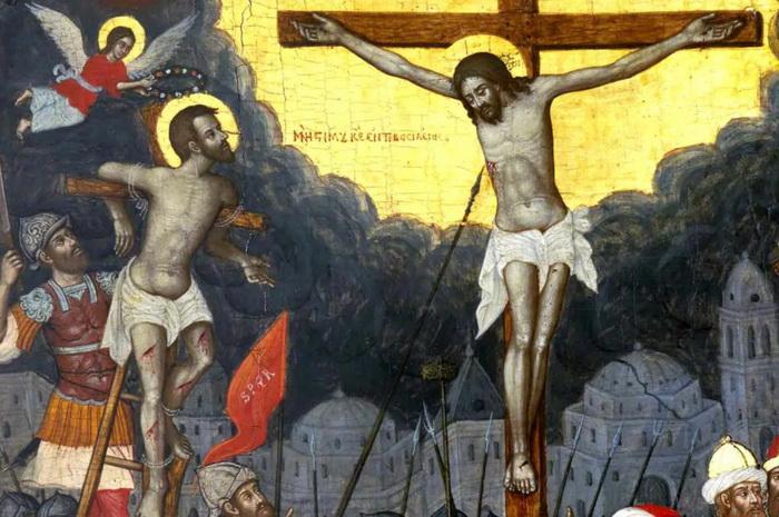 Благоразумный разбойник и Иисус Христос