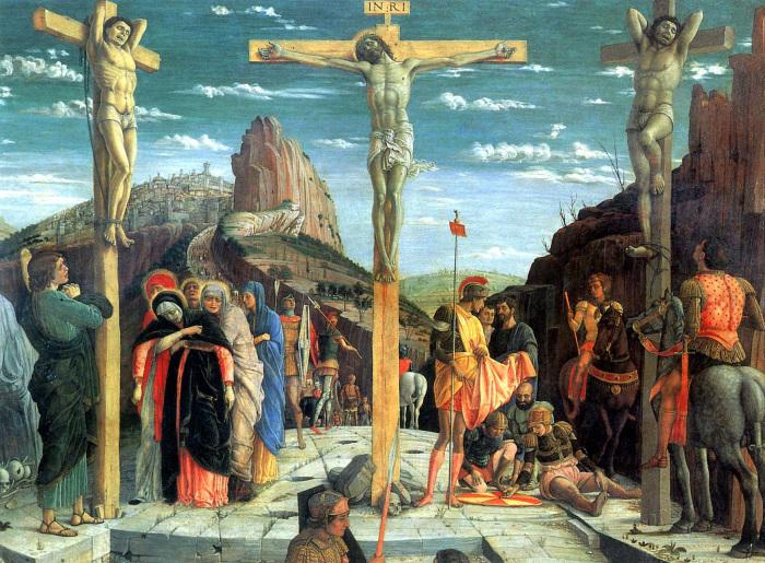 Иисус Христос и разбойники распятые рядом с ним